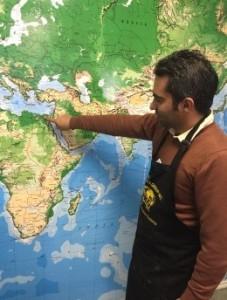 man pointing at map